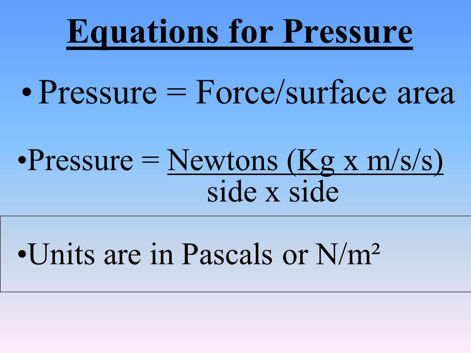 Equations for Pressure