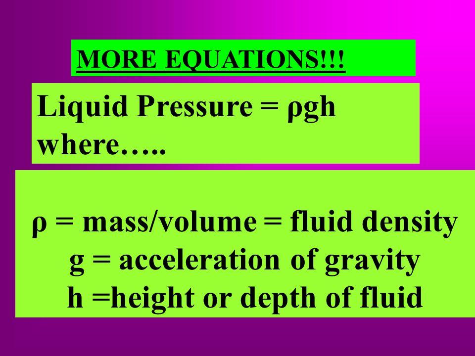 Liquid Pressure = ρgh where…..