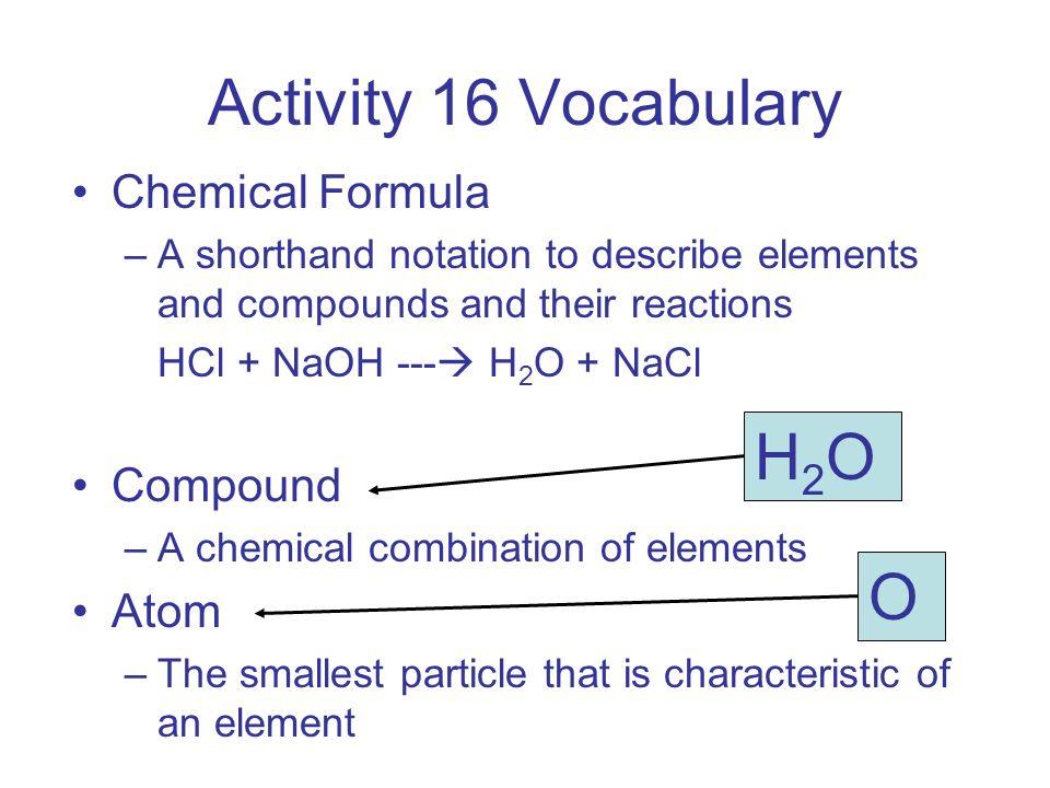 Activity 16 Vocabulary H2O O Chemical Formula Compound Atom