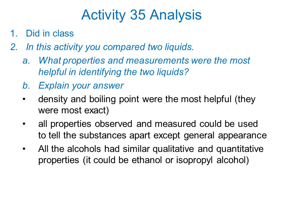 Activity 35 Analysis Did in class