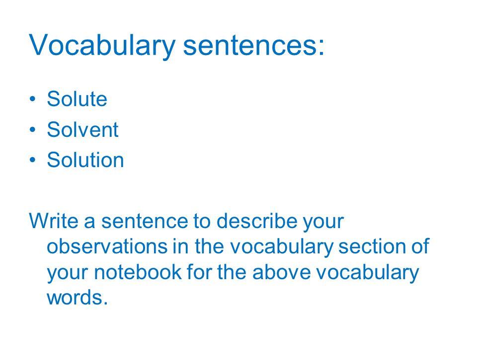 Vocabulary sentences: