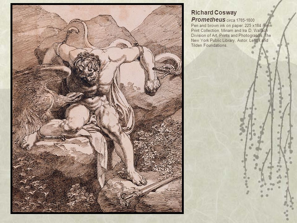 Richard Cosway Prometheus circa 1785-1800 Pen and brown ink on paper, 225 x184 mm Print Collection, Miriam and Ira D.