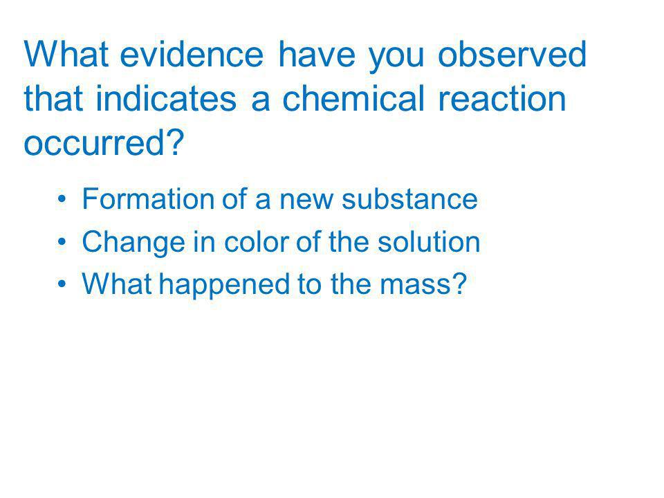 What evidence have you observed that indicates a chemical reaction occurred