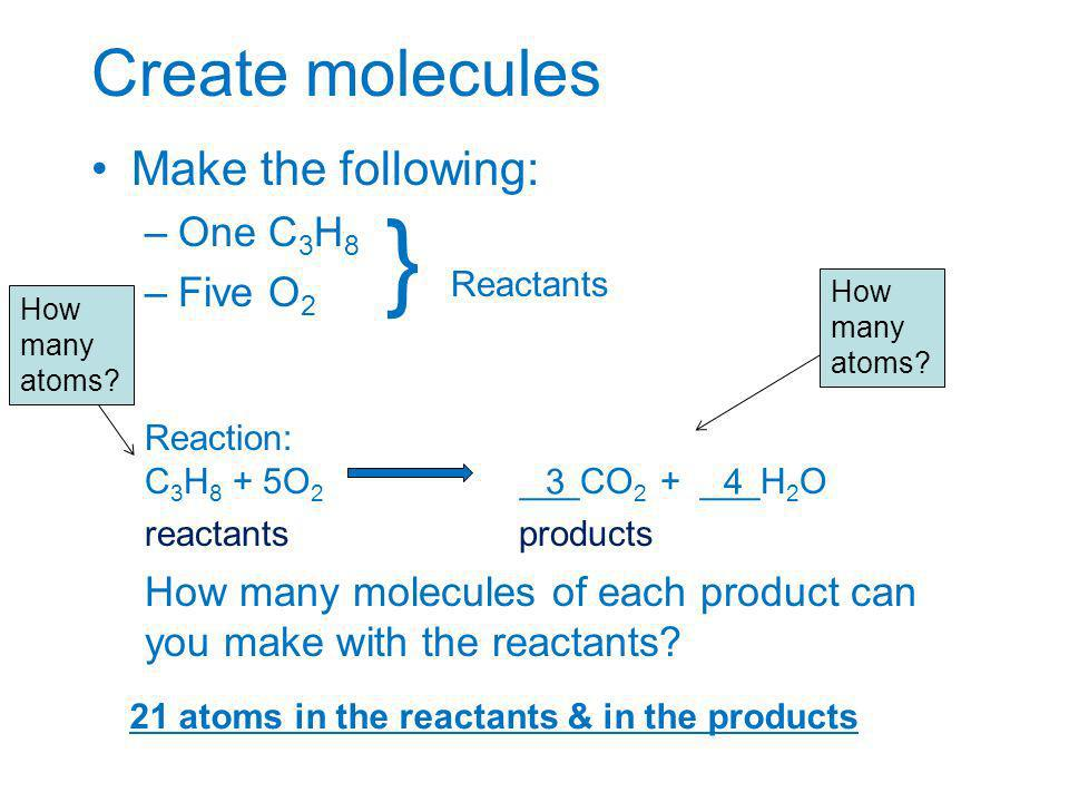 } Reactants Create molecules Make the following: One C3H8 Five O2