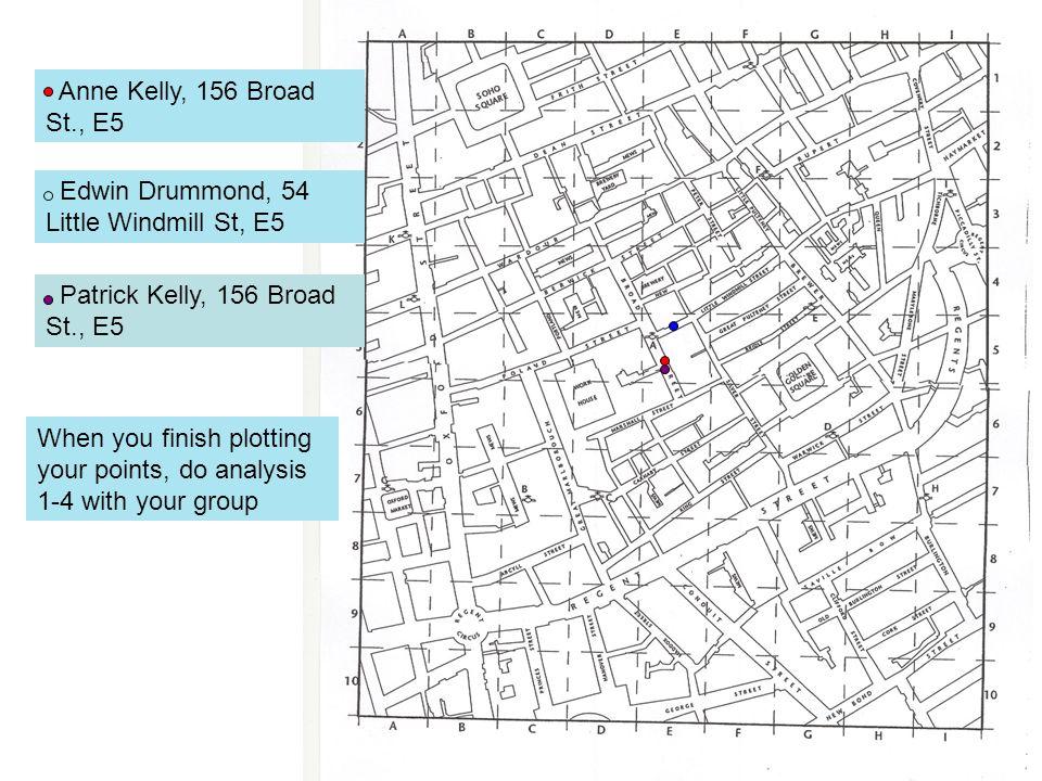 Anne Kelly, 156 Broad St., E5 Edwin Drummond, 54 Little Windmill St, E5. Patrick Kelly, 156 Broad St., E5.