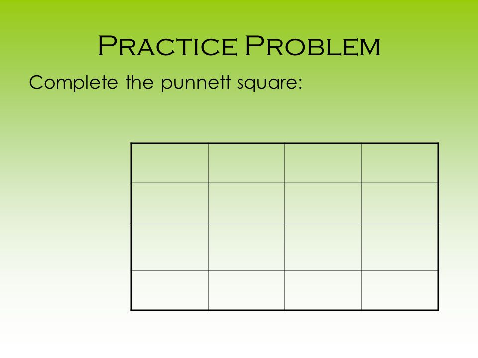 Practice Problem Complete the punnett square: