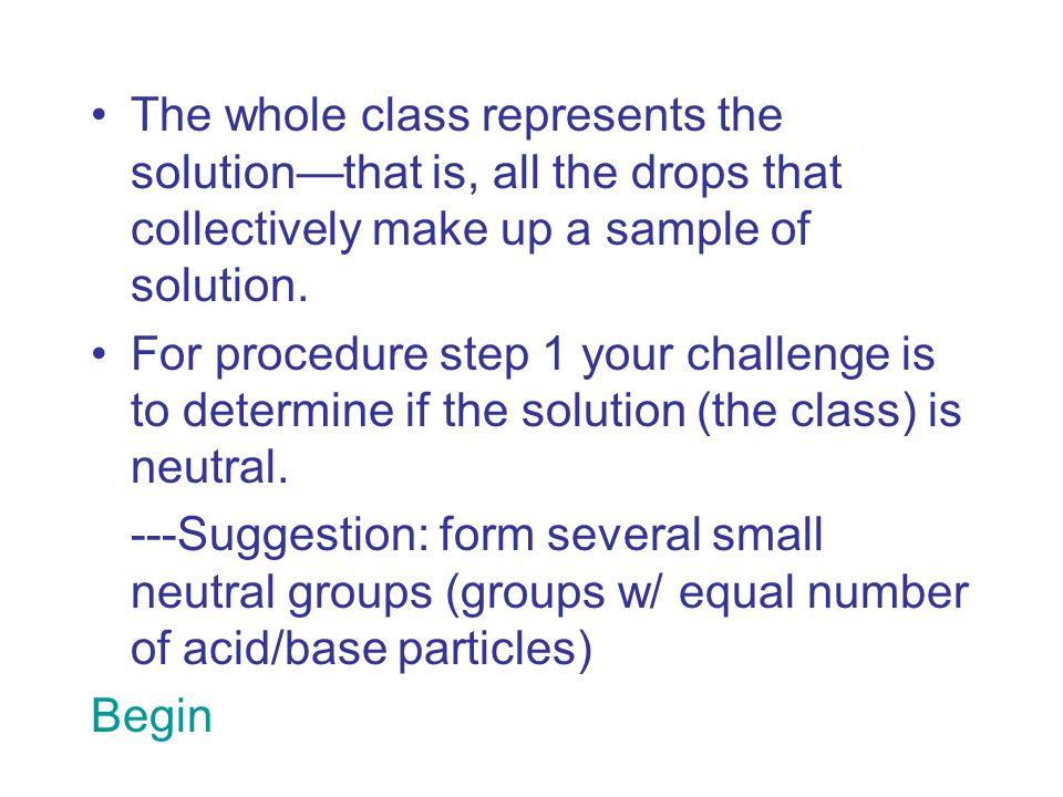 The whole class represents the solution—that is, all the drops that collectively make up a sample of solution.