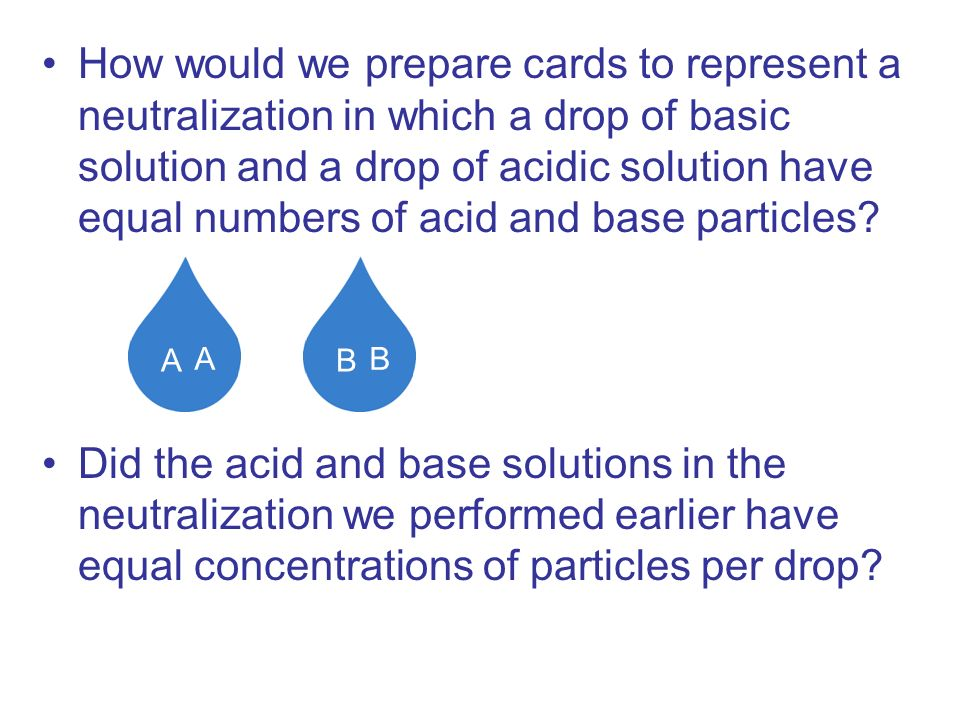 How would we prepare cards to represent a neutralization in which a drop of basic solution and a drop of acidic solution have equal numbers of acid and base particles
