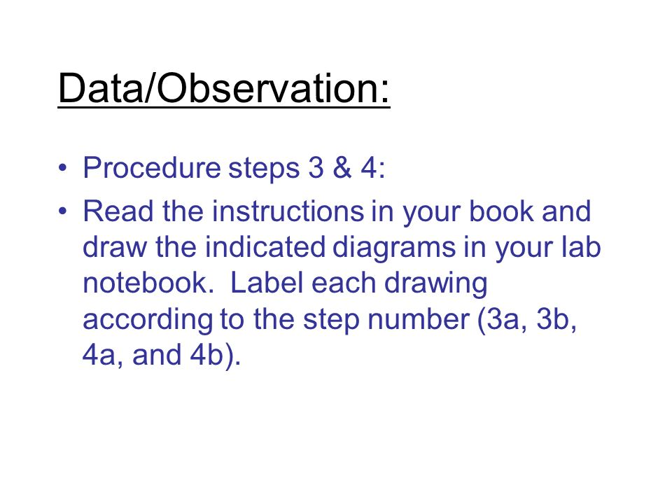 Data/Observation: Procedure steps 3 & 4: