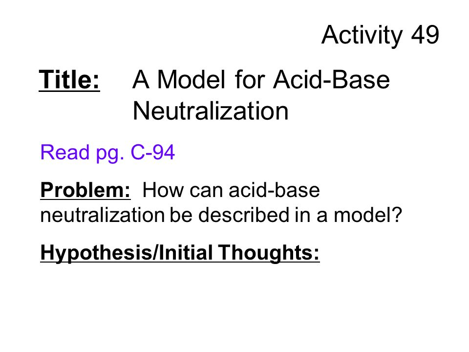 Title: A Model for Acid-Base Neutralization