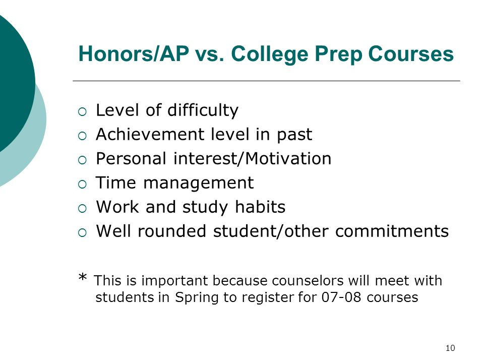Honors/AP vs. College Prep Courses