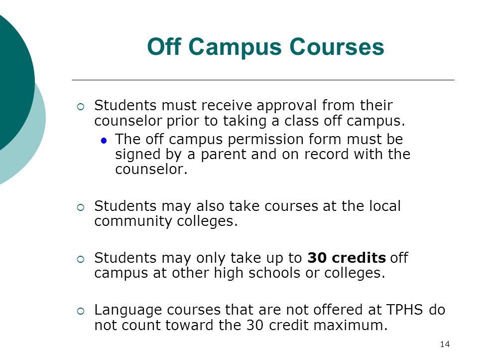 Off Campus Courses Students must receive approval from their counselor prior to taking a class off campus.