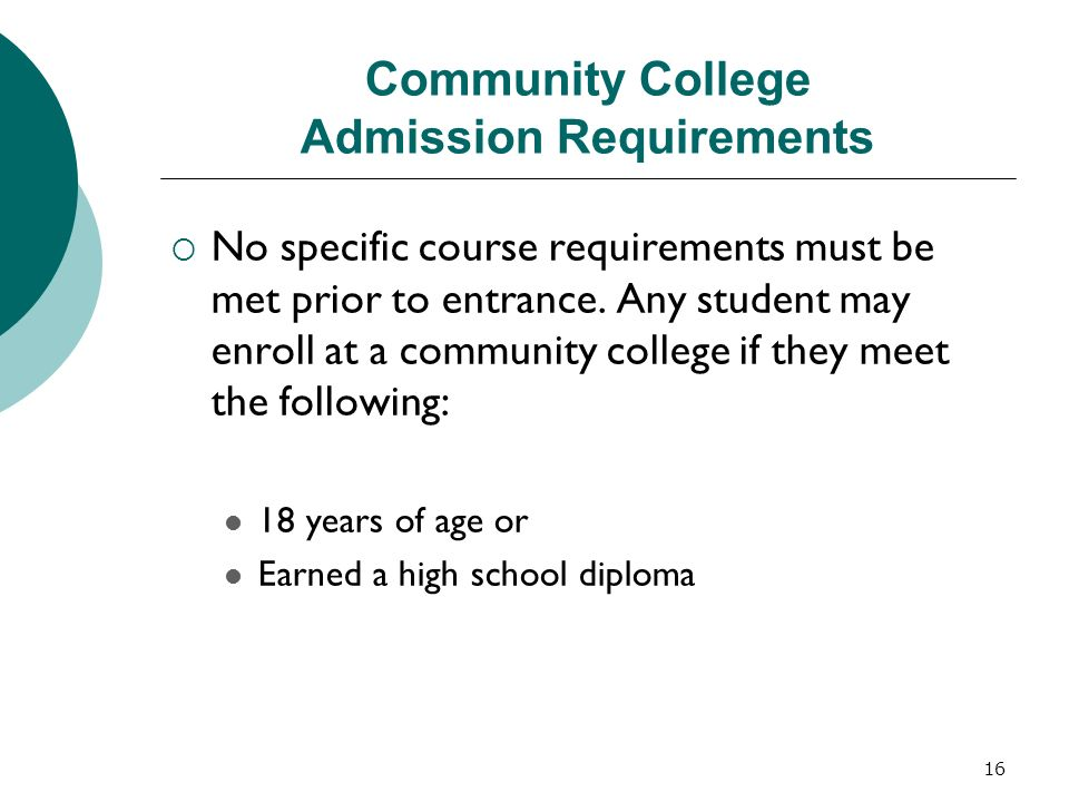 Community College Admission Requirements