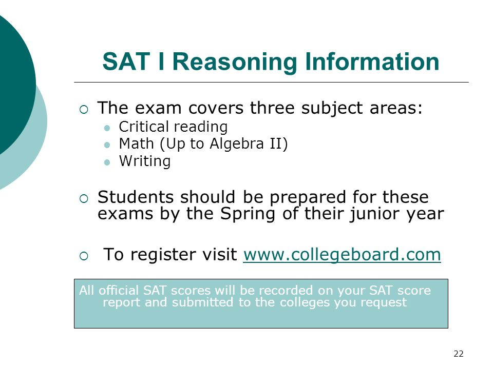SAT I Reasoning Information