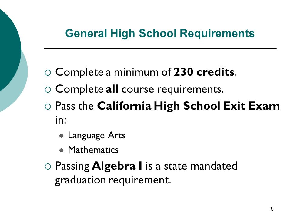 General High School Requirements