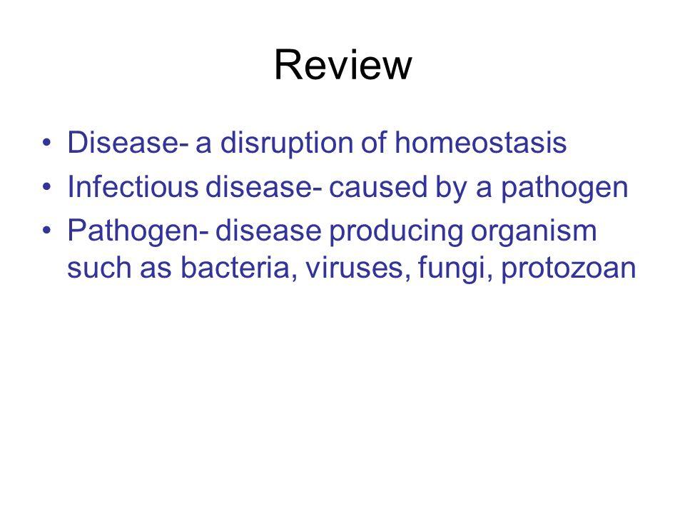 Review Disease- a disruption of homeostasis