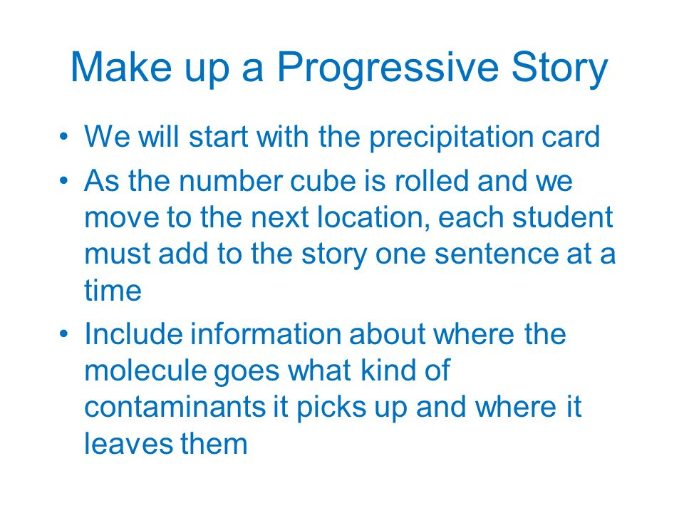Make up a Progressive Story