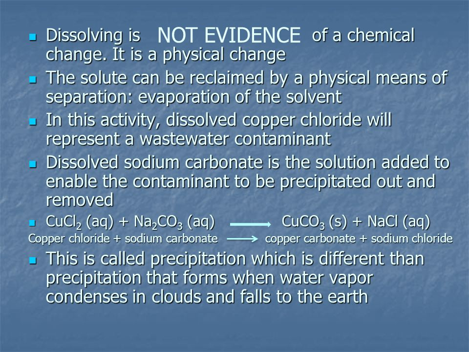 NOT EVIDENCE Dissolving is of a chemical change. It is a physical change.