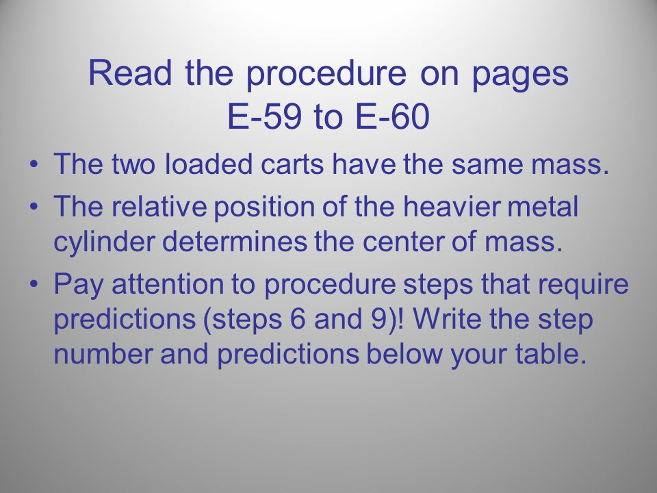 Read the procedure on pages E-59 to E-60