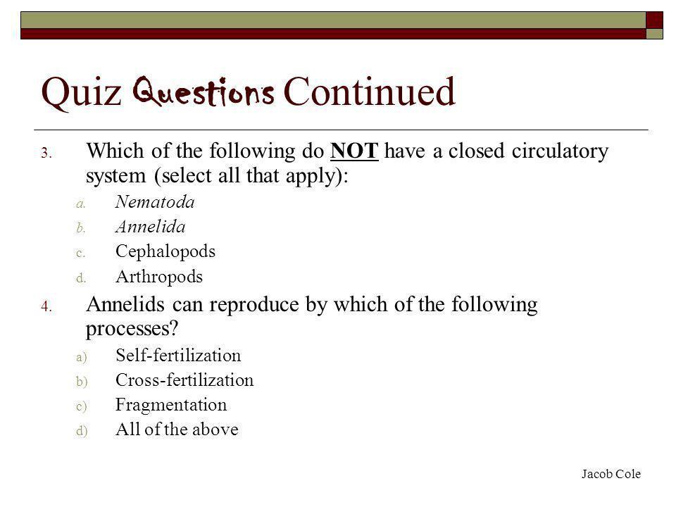 Quiz Questions Continued