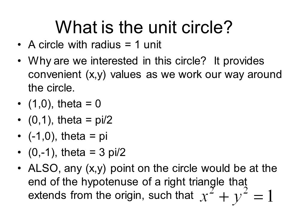 What is the unit circle A circle with radius = 1 unit