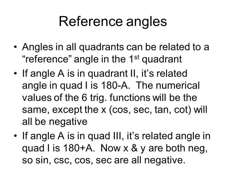 Reference anglesAngles in all quadrants can be related to a reference angle in the 1st quadrant.