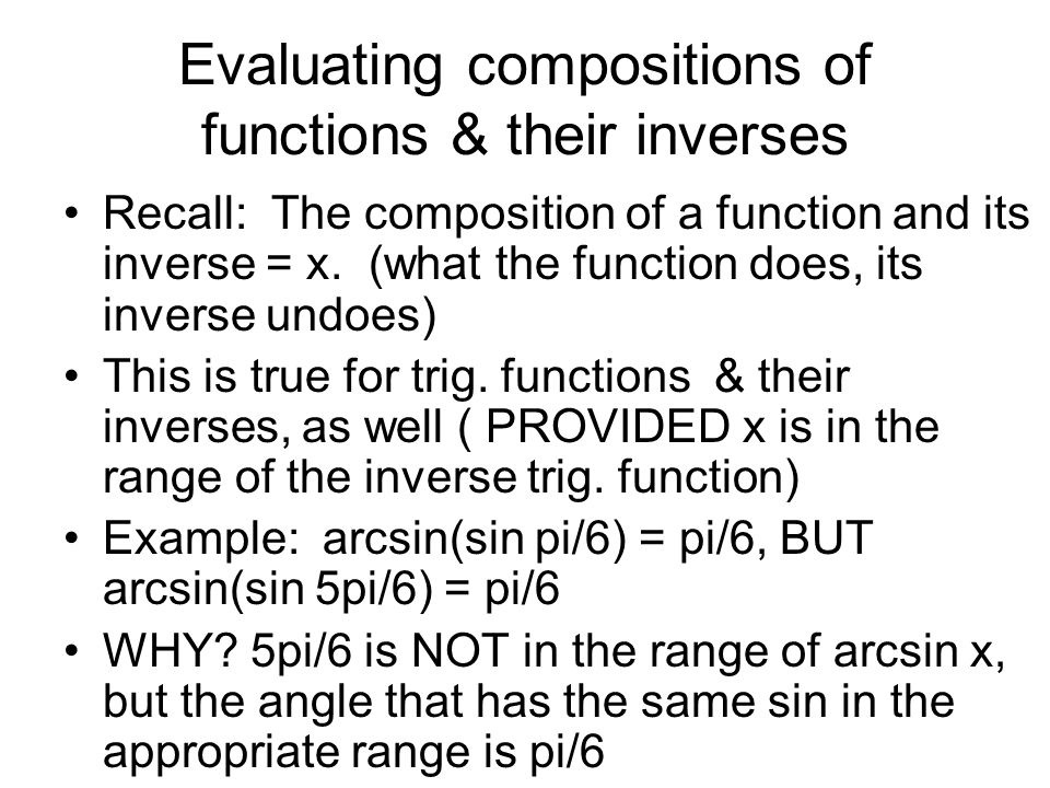 Evaluating compositions of functions & their inverses