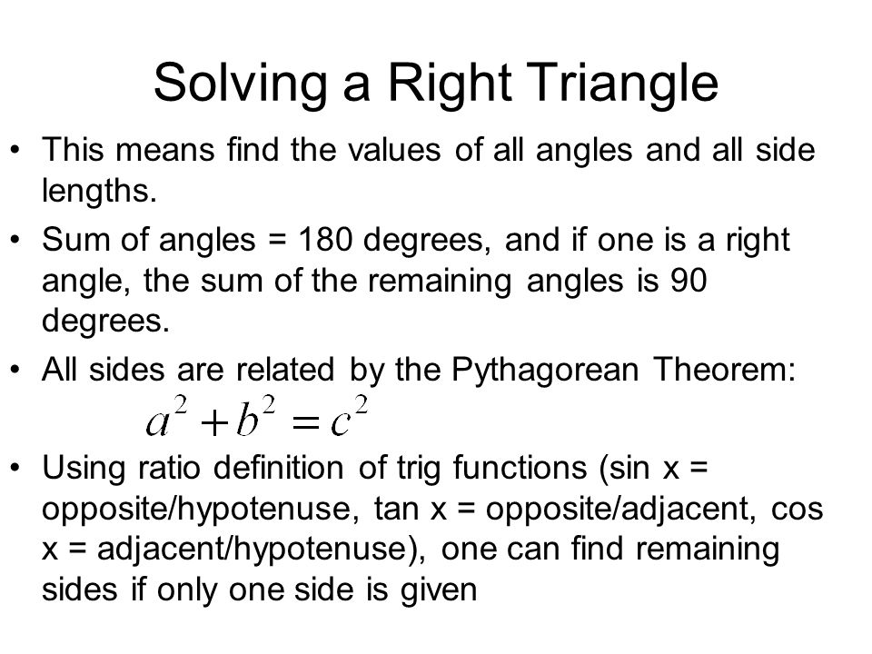 Solving a Right Triangle