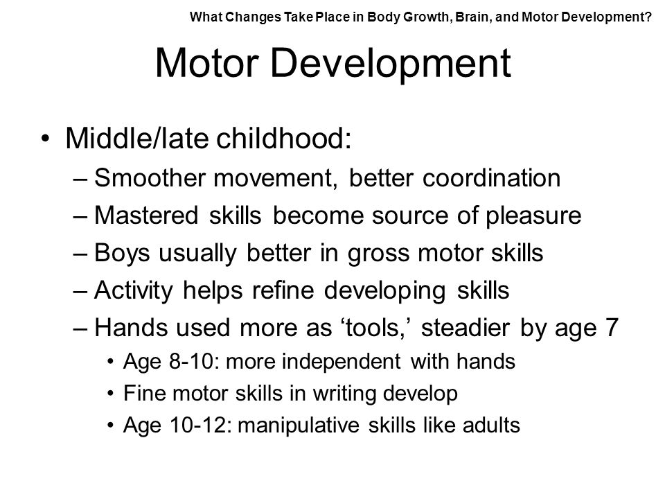 Physical development in middle and late childhood ppt for What are gross motor skills in child development