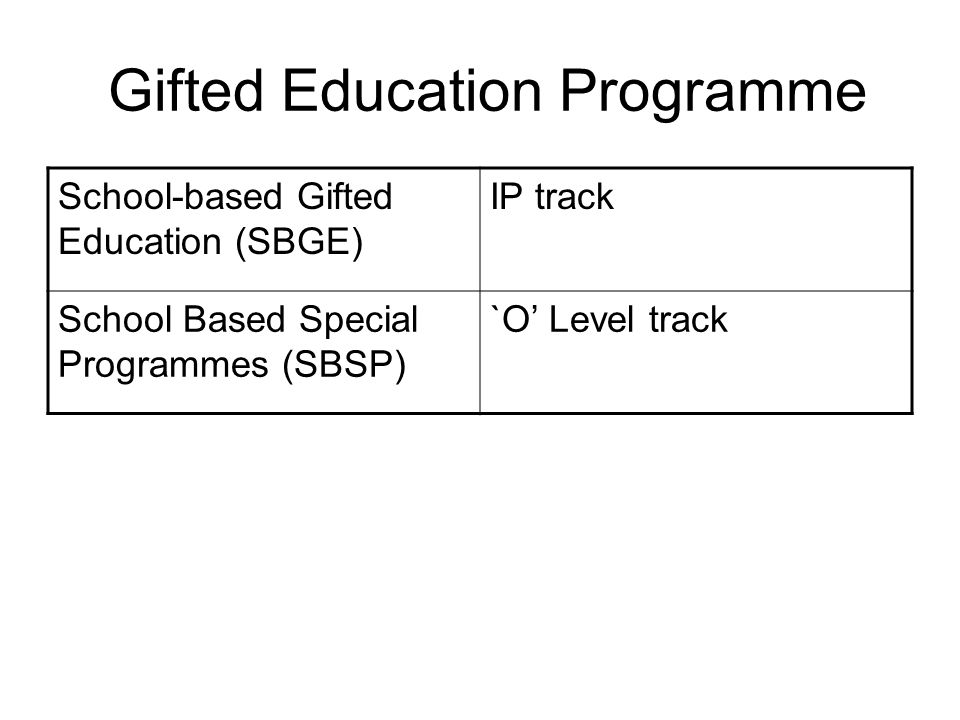 Gifted Education Programme
