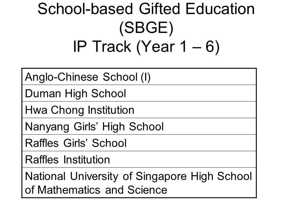 School-based Gifted Education (SBGE) IP Track (Year 1 – 6)