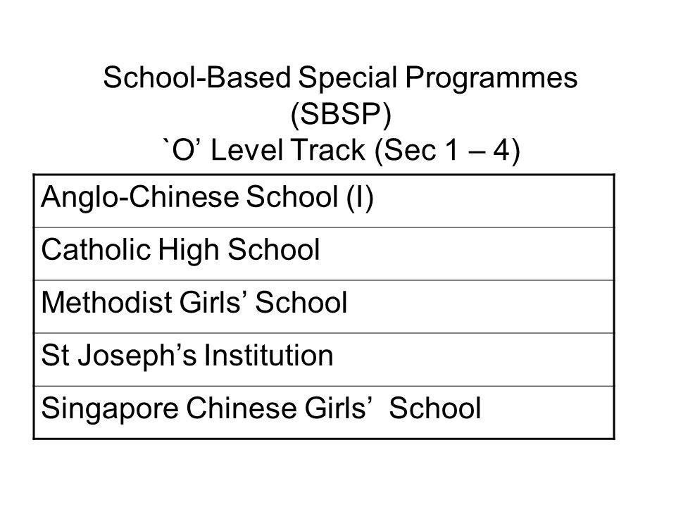 School-Based Special Programmes (SBSP) `O' Level Track (Sec 1 – 4)