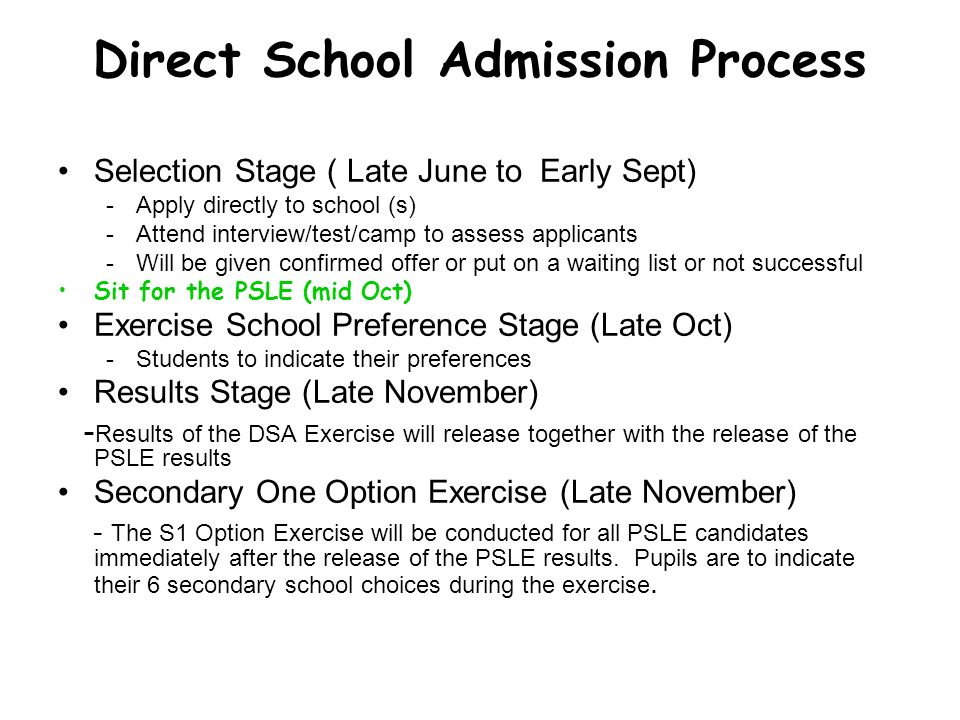 Direct School Admission Process