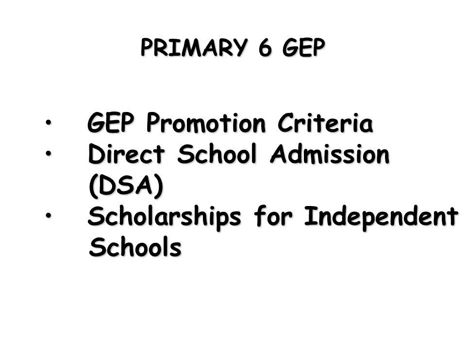 GEP Promotion Criteria Direct School Admission (DSA)
