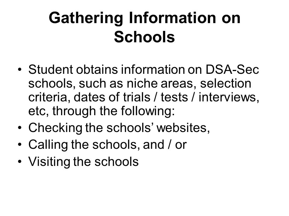 Gathering Information on Schools