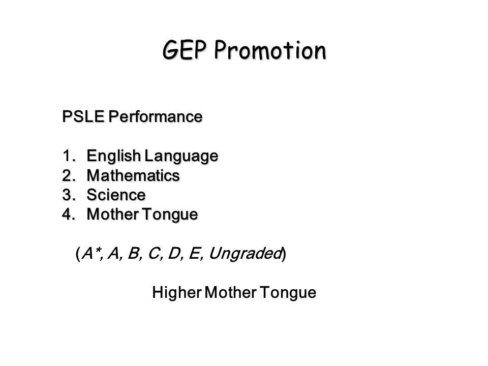 GEP Promotion PSLE Performance 1. English Language 2. Mathematics