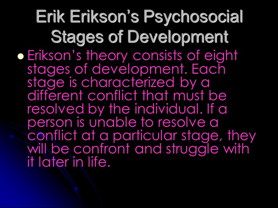essay on erik erikson theory Eriksons eight stages of psychosocial development psychology essay jean pieget carl rogers and erik erikson have in the erikson's theory of.