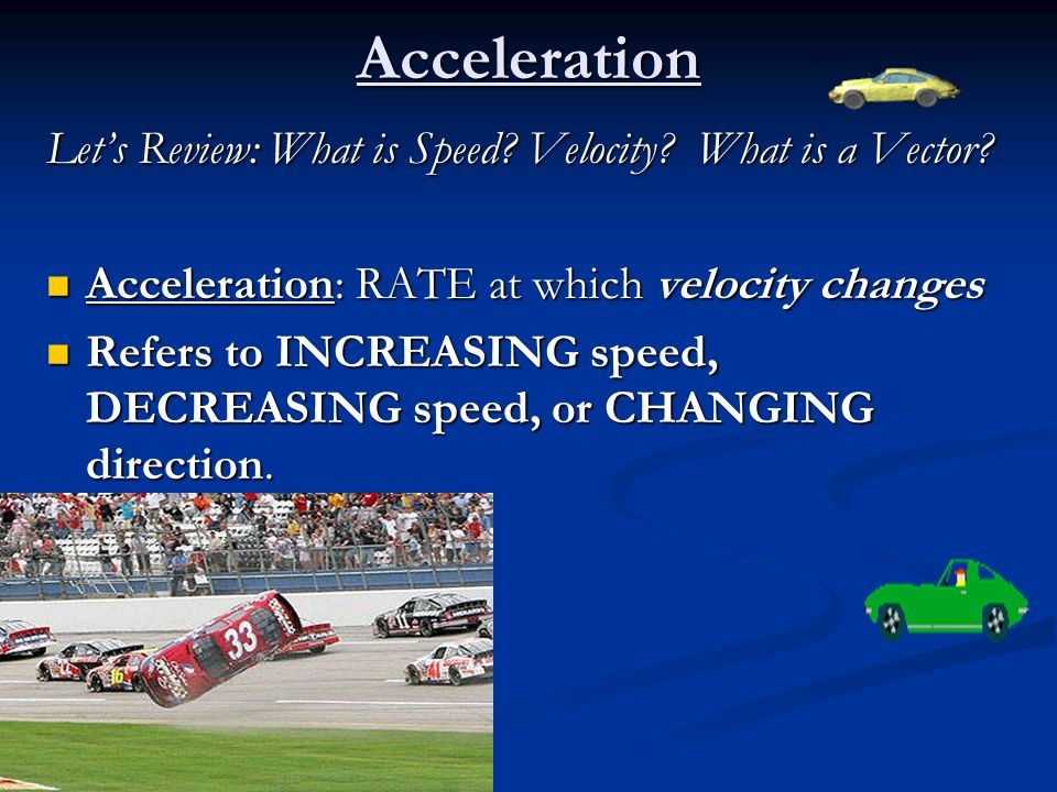 Acceleration Let's Review: What is Speed Velocity What is a Vector