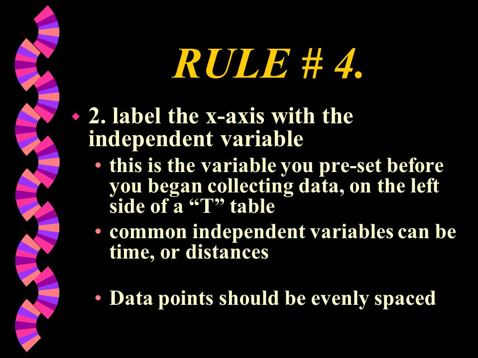 RULE # 4. 2. label the x-axis with the independent variable