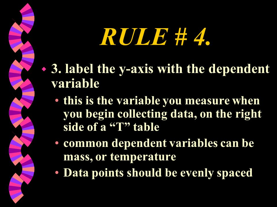 RULE # 4. 3. label the y-axis with the dependent variable