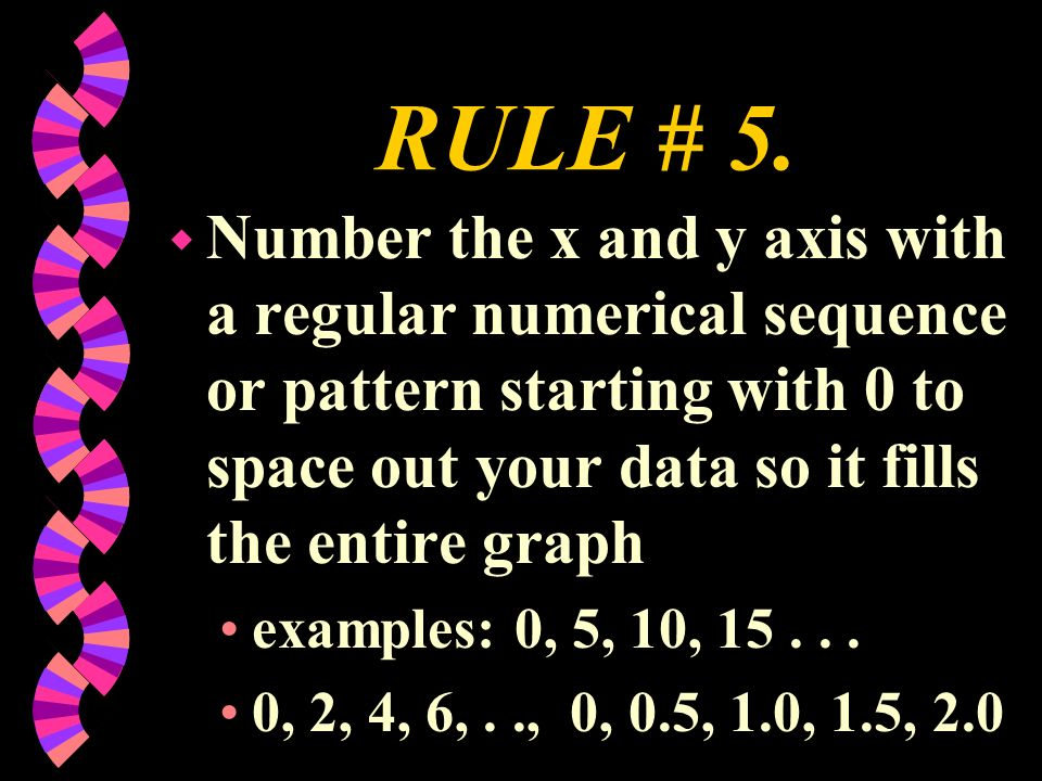 RULE # 5. Number the x and y axis with a regular numerical sequence or pattern starting with 0 to space out your data so it fills the entire graph.