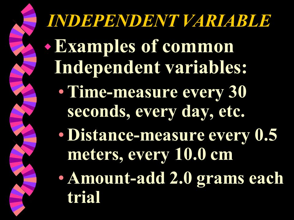 INDEPENDENT VARIABLE Examples of common Independent variables: