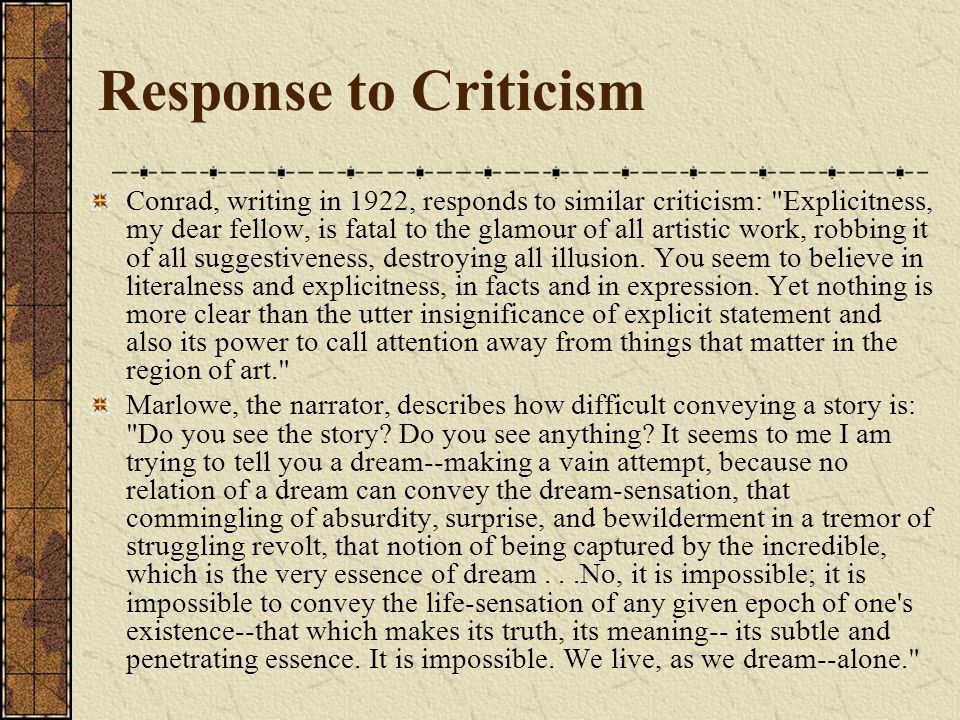 Response to Criticism