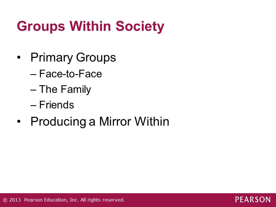 Groups Within Society Primary Groups Producing a Mirror Within