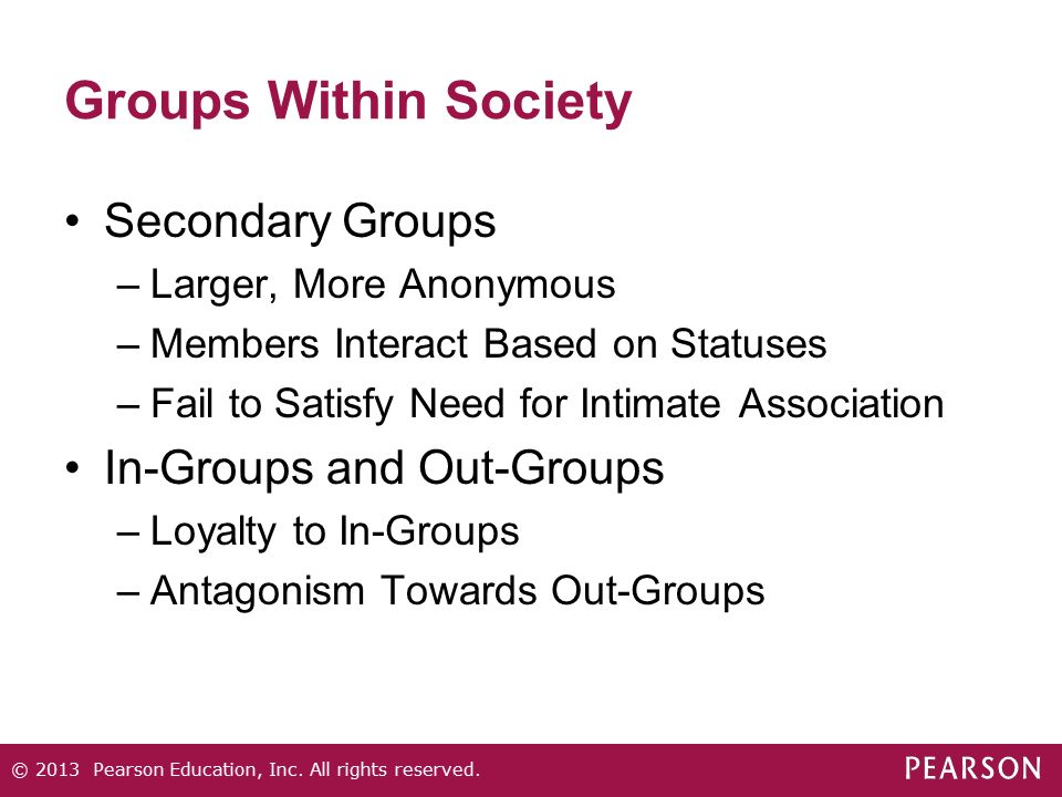 Groups Within Society Secondary Groups In-Groups and Out-Groups