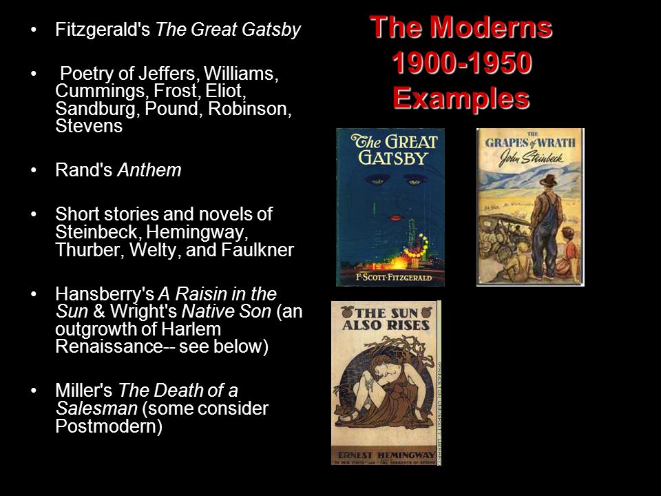 The Moderns 1900-1950 Examples Fitzgerald s The Great Gatsby