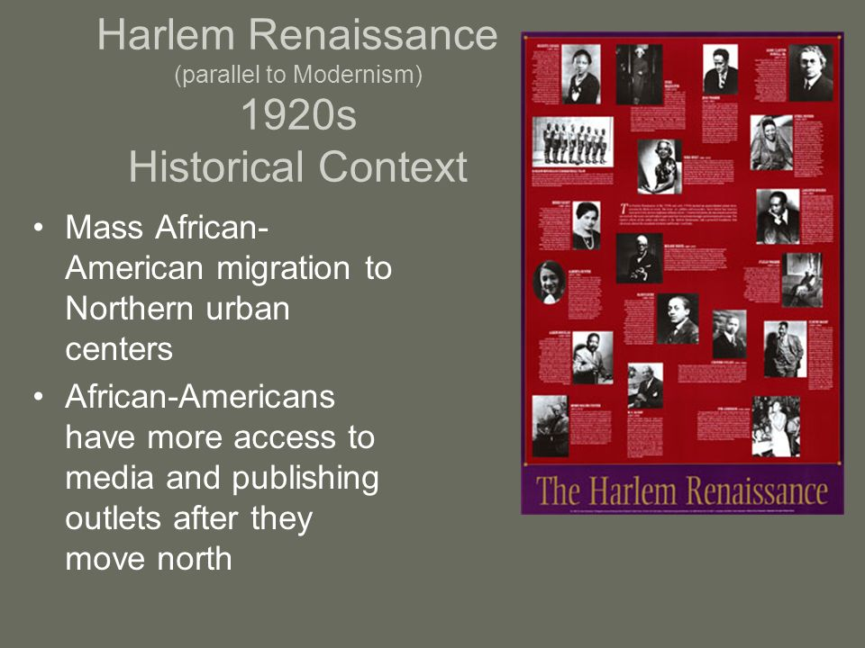 Harlem Renaissance (parallel to Modernism) 1920s Historical Context