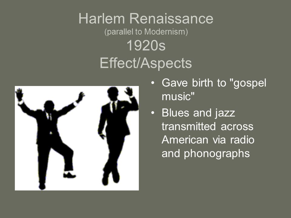 Harlem Renaissance (parallel to Modernism) 1920s Effect/Aspects