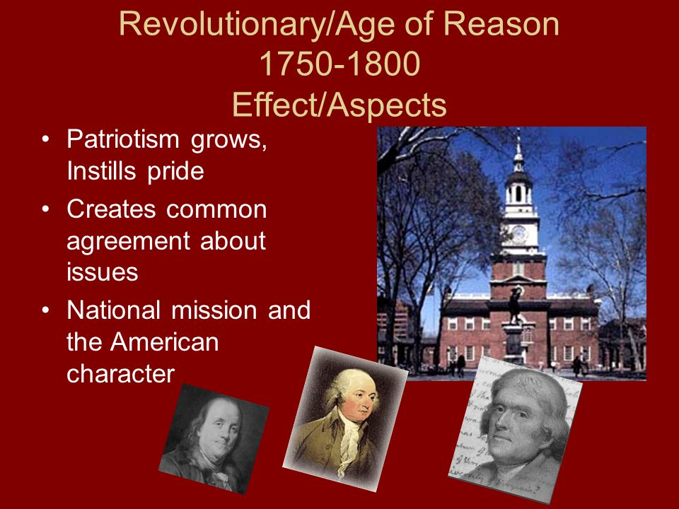 Revolutionary/Age of Reason 1750-1800 Effect/Aspects