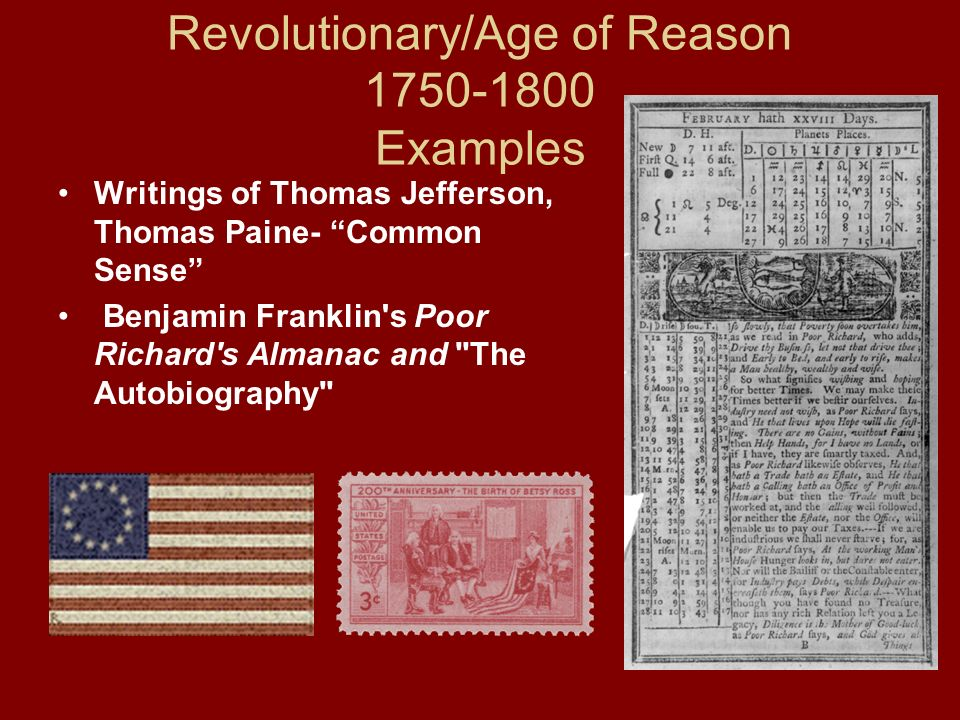 Revolutionary/Age of Reason 1750-1800 Examples